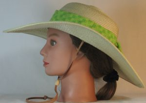 Floppy Hat Band in Lime Green Squares - left