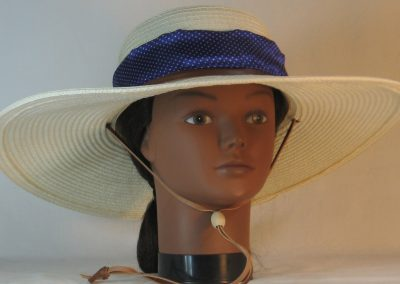 Floppy Hat Band in Small White Polka Dots Purple Satin - front
