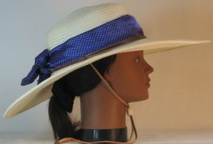 Floppy Hat Band in Small White Polka Dots Purple Satin - right