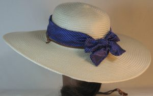 Floppy Hat Band in Small White Polka Dots Purple Satin - back