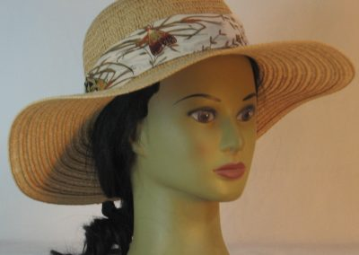 Floppy Hat Band in Moths Leaves in Peach Ties Cream Leaves - front right