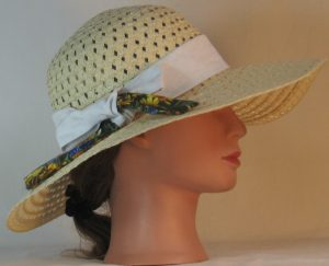 Floppy Hat Band in White Daisy Imprint Ties Daisy Flowers - right