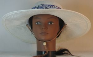 Floppy Hat Band in Blue Lavender Green Flower Paisley Folk Ties Blue - front