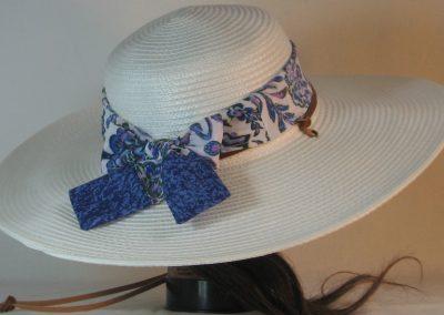 Floppy Hat Band in Blue Lavender Green Flower Paisley Folk Ties Blue - back