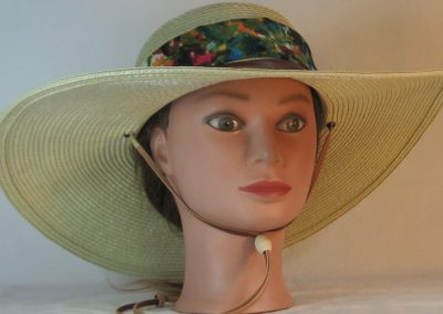 Floppy Hat Band in Pink Yellow Blue Flower Field Ties Green - front
