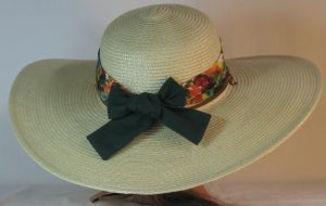 Floppy Hat Band in Pink Yellow Blue Flower Field Ties Green - back