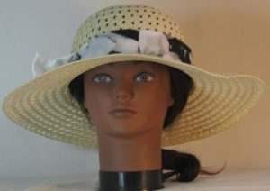 Floppy Hat Band in Black White Large Flower Ties White - front