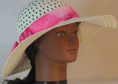 Floppy Hat Band in Pink Leaves Yellow Balls Polyester Silk - front right