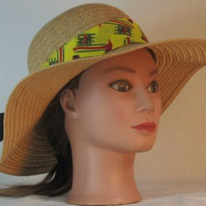 Floppy Hat Band in Hold the Line Fire Fighting Ax on Yellow Ties Black -front right