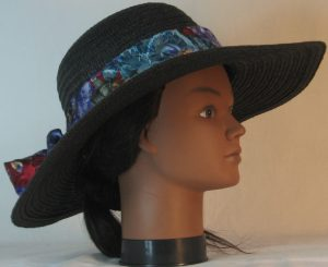Floppy Hat Band in Big Purple Turquoise Flowers on Red Brocade - left