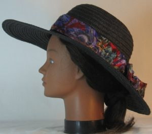 Floppy Hat Band in Big Purple Turquoise Flowers on Red Brocade - right