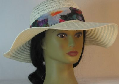 Floppy Hat Band in White Orchid Plaid Ties Black Motley - front