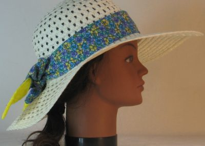 Floppy Hat Band in Yellow Blue Purple Pansy Flower Ties Yellow - right