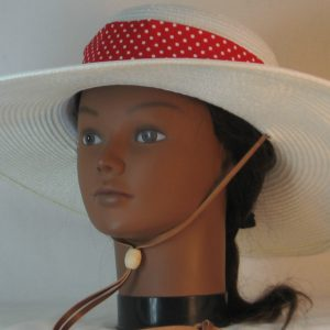 Floppy Hat Band in Red with Small White Polka Dots - front left