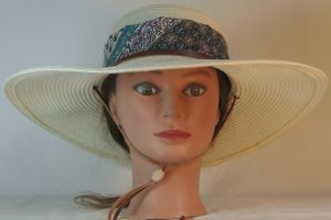 Floppy Hat Band in Turquoise Pink Floral Grid Blackwork Ties Green - front