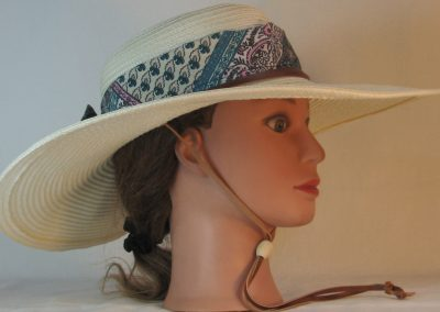 Floppy Hat Band in Turquoise Pink Floral Grid Blackwork Ties Green - right