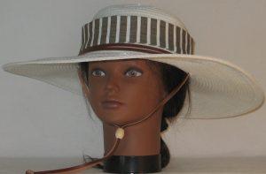 Floppy Hat Band in Brown White Stripe Seersucker - front
