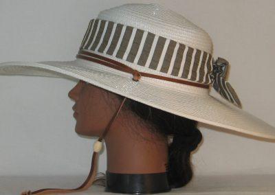 Floppy Hat Band in Brown White Stripe Seersucker - left