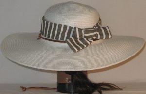 Floppy Hat Band in Brown White Stripe Seersucker - back