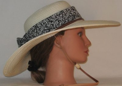 Floppy Hat Band in White Flowers Branch Sprigs on Black - right