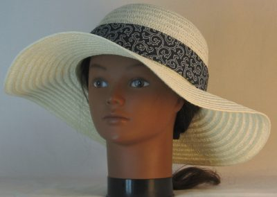 Floppy Hat Band in White Outlined Scrolls on Charcoal Ties Gray Motley - front