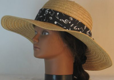 Floppy Hat Band in White Notes Clefs on Black Ties White - left