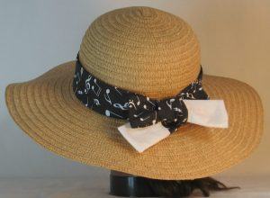 Floppy Hat Band in White Notes Clefs on Black Ties White - back