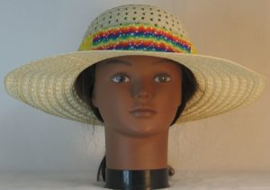 Floppy Hat Band in Rainbow Star Waves Patchwork Ties White Polka Dots on Yellow - front