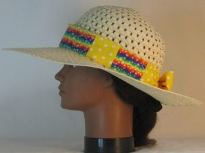 Floppy Hat Band in Rainbow Star Waves Patchwork Ties White Polka Dots on Yellow - left