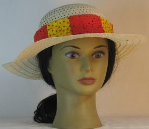 Floppy Hat Band in Apples on Yellow Patchwork Red - front