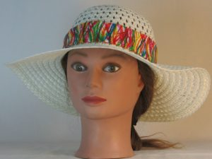 Floppy Hat Band in Bright Marks Ties White Polka Dots on Yellow - front