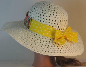 Floppy Hat Band in Bright Marks Ties White Polka Dots on Yellow - back