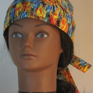Do Rag in Blue Yellow Orange Green Brushed with Gold - front