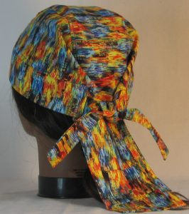 Do Rag in Blue Yellow Orange Green Brushed with Gold - back