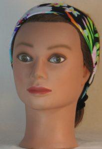 Headband in Tropical Joy Flowers on Black in Narrow - front