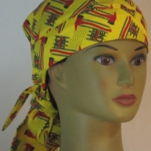 Hair Bag Do Rag in Hold the Line Fire Fighting Ax on Yellow - front