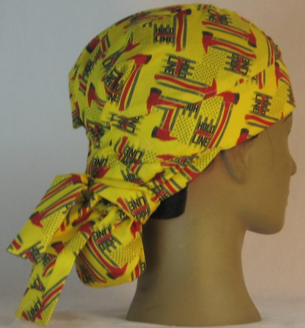 Hair Bag Do Rag in Hold the Line Fire Fighting Ax on Yellow - right