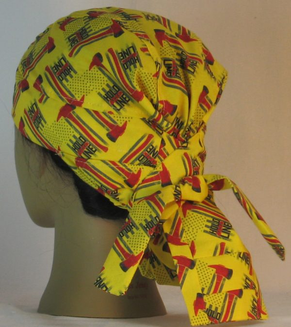 Hair Bag Do Rag in Hold the Line Fire Fighting Ax on Yellow - back left
