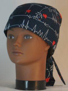 Hair Bag Do Rag in EKG Blue Grid Heart on Black Medical - front