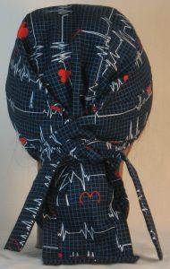 Hair Bag Do Rag in EKG Blue Grid Heart on Black Medical - back