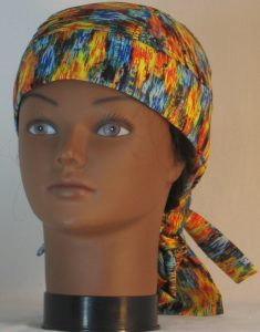 Hair Bag Do Rag in Blue Yellow Orange Green Brushed with Gold - front