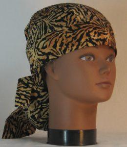 Hair Bag Do Rag in Tan Brown Wavy on Black Tiger Like Batik - front right
