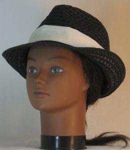 Fedora Hat Band in Light Tan Cream Window Pane Check - front