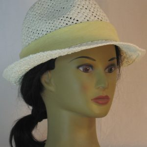 Fedora Hat Band in White Swirl Wood on Yellow - front right