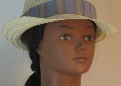 Fedora Hat Band in Blue Denim Tan Stripe - front