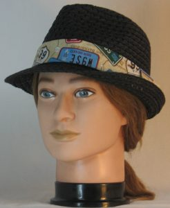 Fedora Hat Band in Route 66 with License Plates- front