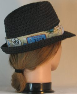 Fedora Hat Band in Route 66 with License Plates- back