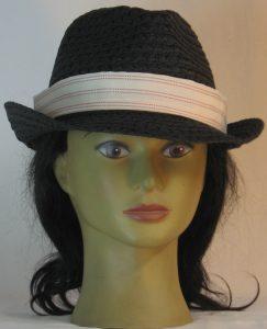 Fedora Hat Band in Burgundy White Stripe on Cream Shirting - front