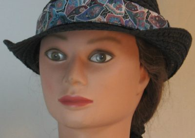 Fedora Hat Band in Flower Crazy Quilt in Turquoise Rose Green & Purple - front
