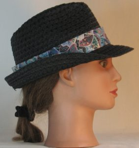 Fedora Hat Band in Flower Crazy Quilt in Turquoise Rose Green & Purple - right